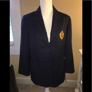 Liz Claiborne Vintage Navy Blue Crest Blazer